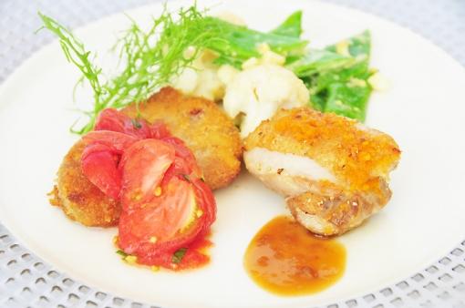 タツヤカワゴエ ミヤザキ・子牛のカツレツとチキンの柚子胡椒焼き