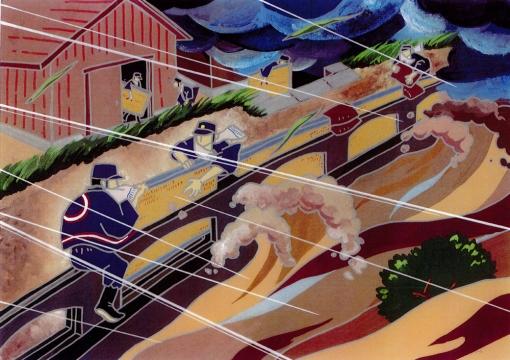 畳で街を守ったお話し〜五ヶ瀬川の畳堤【イメージイラスト】